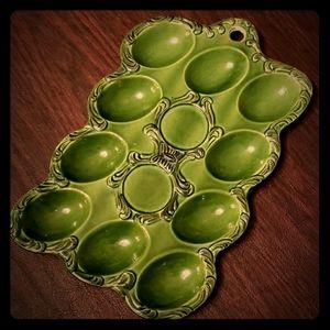 Other - Vintage Green Porcelain Egg Dish